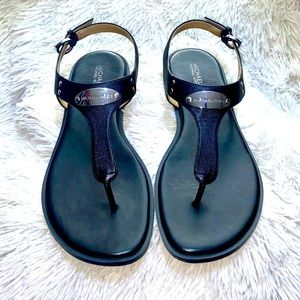 MICHAEL KORS  Black Leather Sandal